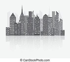 miasto, drapacz chmur, prospekt