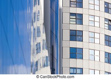 miasto, drapacze chmur, -, śródmieście, szkło, poniżej, rotterdam, krajobraz, prospekt