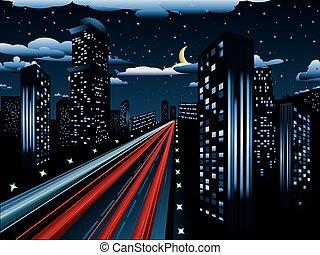 miasto droga, noc