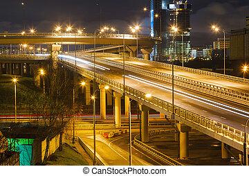 miasto droga, przechodzić, w nocy