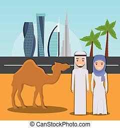 miasto, dubai, jeźdźcy wielbłąda, tło, pustynia