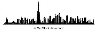 miasto, dubai, zjednoczony, miejski, arab, emiraty, cityscape, skyline., uae, prospekt