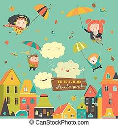 miasto, dzieciaki, przelotny, pod, parasole, szczęśliwy