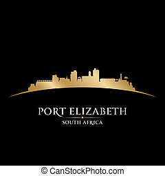miasto, elizabeth, afryka, ilustracja, silhouette., sylwetka na tle nieba, wektor, port, południe