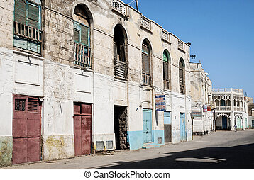 miasto, eritrea, główny, massawa, ulica, architektura, stary, miejscowy