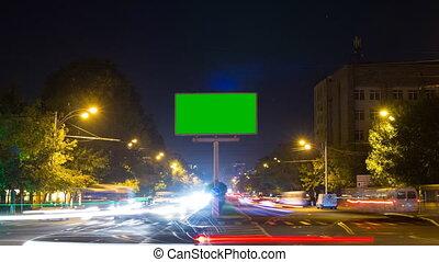 miasto, exposure., lapse., ekran, długi, aparat fotograficzny, zielone tło, czas, tablica ogłoszeń, handel, porusza się, precz