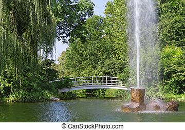 miasto fontanny, park., baden-baden, europa