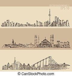 miasto, francisco, san, istambuł, szanghaj, wektor