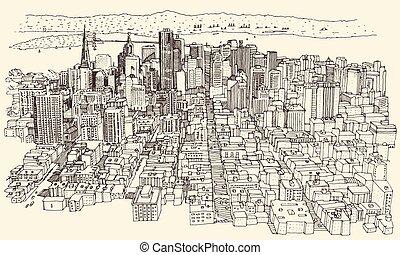 miasto, francisco, san, rocznik wina, architektura, wyryty