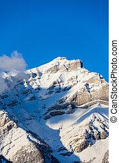 miasto, góra, banff, kaskada, szczyt, kanada