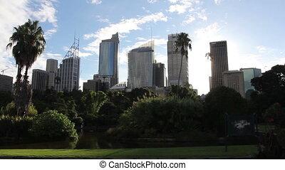 miasto, główny, handlowy, district., sylwetka na tle nieba, ...