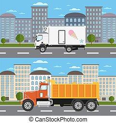 miasto, handlowy, wózek, droga