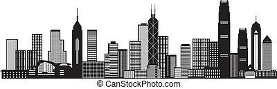 miasto, hong, ilustracja, kong, sylwetka na tle nieba,...