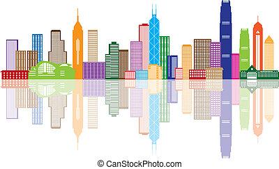 miasto, hong, kolor, panorama, ilustracja, kong, sylwetka na...