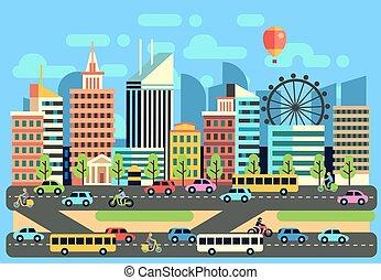 miasto, hulajnoga, miejski, osobowe pojazdy, ilustracja, przewóz, krajobraz, wektor, ruchomy, wozy, handel, szosa, motocykl
