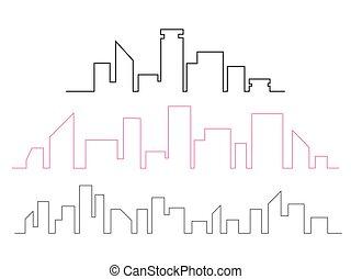 miasto, illustration., ciągły, l, sylwetka na tle nieba, wektor, kreskówka