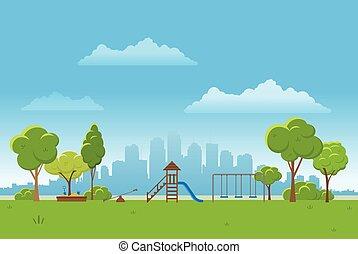 miasto, illustration., wiosna, park, tło., wektor, tło, publiczność, krajobraz