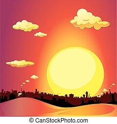 miasto, -, ilustracja, wektor, zachód słońca, czerwony