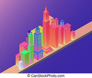 miasto, isometric, mądry, tło