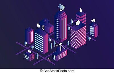 miasto, isometric, pojęcie, chorągiew, styl, mądry