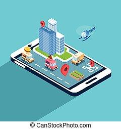 miasto, isometric, telefon, komórka, zastosowanie, ulica, nawigacja, mądry, 3d