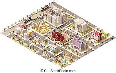 miasto, isometric, wektor, niski, poly