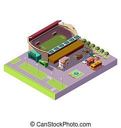 miasto, isometric, wektor, stadion, 3d, publiczność, ikona