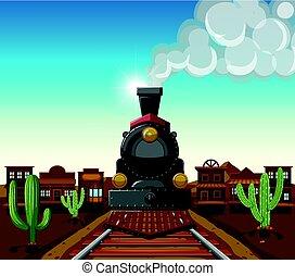 miasto, jazda, pociąg, pustynia