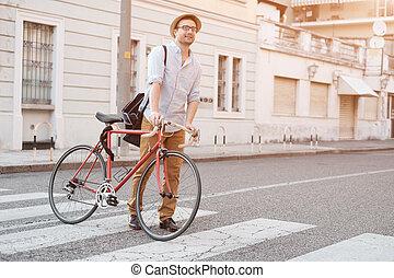 miasto, jego, modny, rower, ulica, dzierżawa, człowiek