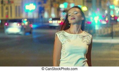 miasto, jej, brązowy, owłosienie, długi, interpretacja, handel, tło, dziewczyna nocy, uśmiechanie się