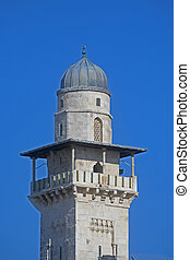 miasto, jerozolima, stary, minaret