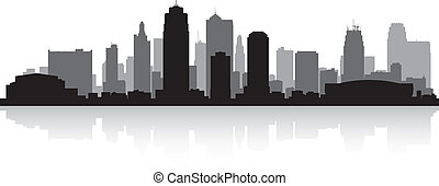 miasto kansas, skyline przedstawią w sylwecie