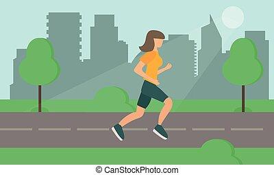 miasto, kobieta bieg, park., vector., droga