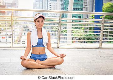 miasto, kobieta, yoga, młody, ruch