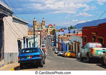 miasto, kolonialny, ulice, oaxaca, meksyk