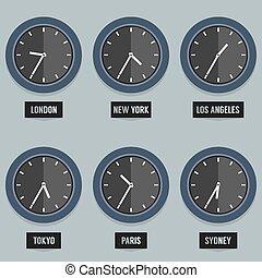 miasto, komplet, kapitał, clock., time's