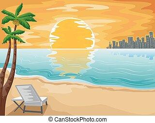 miasto, komplet, słońce, scena, krzesło, plaża