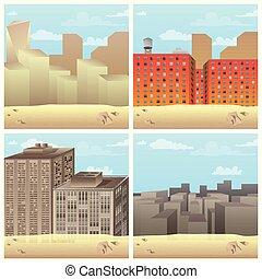 miasto, komplet, sceny, ilustrowany, wektor, desert., rysunek