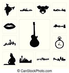 miasto, komplet, szkic, les, ikony, kieszeń, boston, wizerunek, kansas, shiva, paweł, pilnowanie, sylwetka na tle nieba, tło, sylwetka na tle nieba, wizerunki, pan, biały, seattle