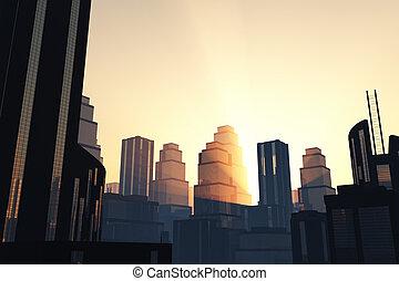 miasto, lightrays, zachód słońca, futurystyczny