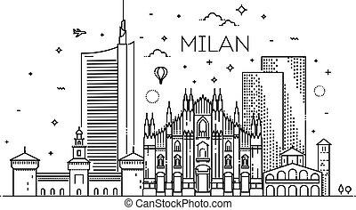 miasto, linearny, chorągiew, milano