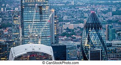 miasto, londyn, środek, handlowy, drapacze chmur