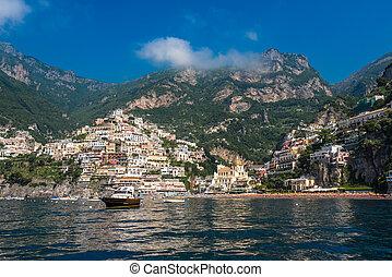miasto, mały, prospekt, positano, amalfi, campania, brzeg, panoramiczny, włochy