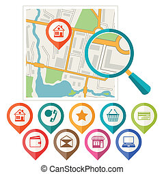 miasto mapa, abstrakcyjny, tło, z, komplet, od, różny, markers.