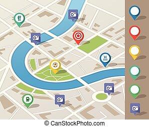 miasto mapa, ilustracja, z, rozmieszczenie