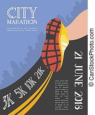 miasto, marathon., biegacz, atleta, ilustracja, feet, tło., wyścigi, wektor, closeup, bucik, droga, krajobraz, drapacz chmur