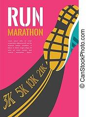 miasto, marathon., biegacz, atleta, ilustracja, feet, wyścigi, wektor, droga, closeup.