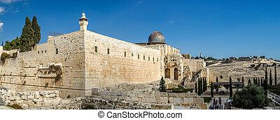 miasto, meczet, jerozolima, stary, al-aqsa
