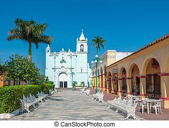 miasto, meksykanin, unesco, kolonialny, ulice, umiejscawiać...