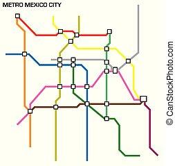 miasto, metro mapa, meksyk, ilustracja, wektor